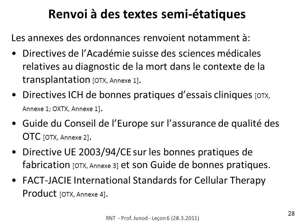 Renvoi à des textes semi-étatiques Les annexes des ordonnances renvoient notamment à: Directives de lAcadémie suisse des sciences médicales relatives au diagnostic de la mort dans le contexte de la transplantation [OTX, Annexe 1].