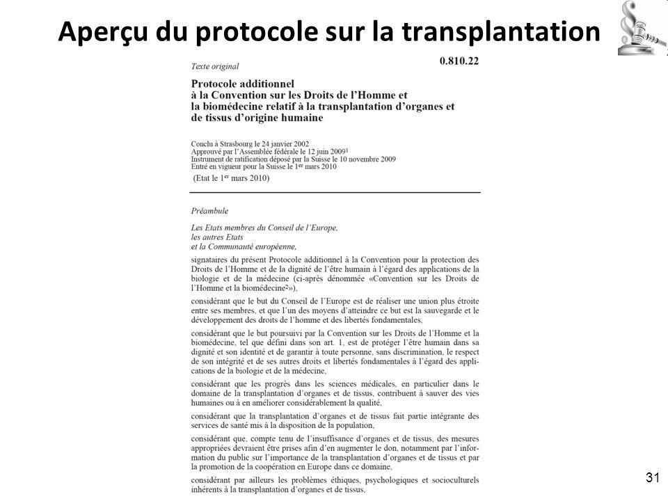 Aperçu du protocole sur la transplantation RNT - Prof. Junod - Leçon 6 (28.3.2011) 31