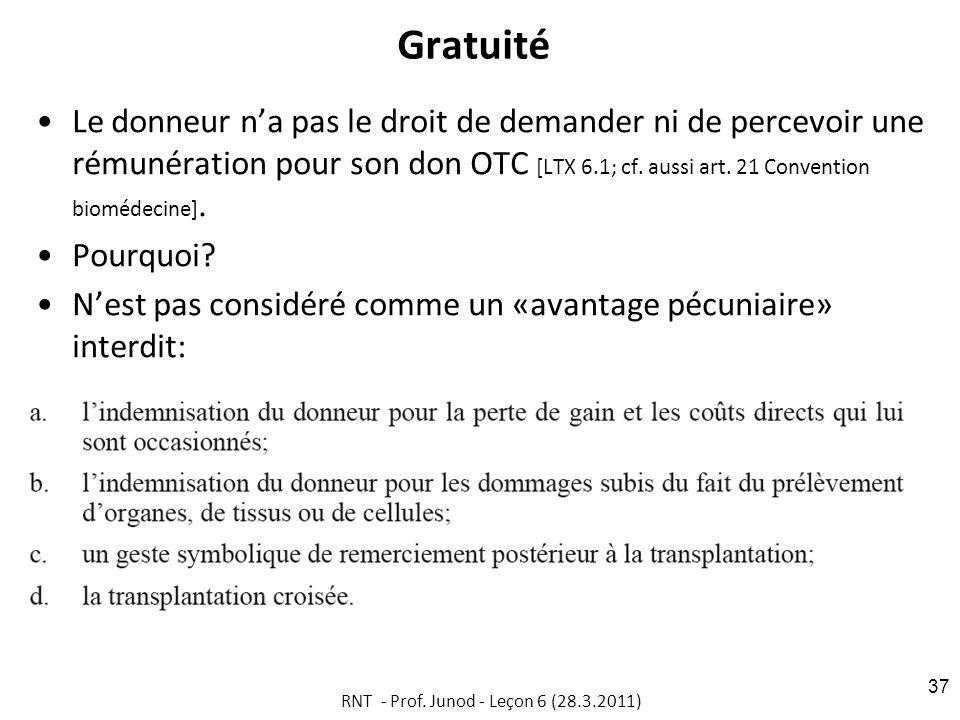 Gratuité Le donneur na pas le droit de demander ni de percevoir une rémunération pour son don OTC [LTX 6.1; cf.
