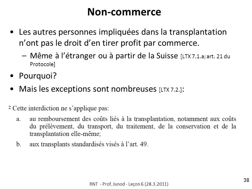 Non-commerce Les autres personnes impliquées dans la transplantation nont pas le droit den tirer profit par commerce.