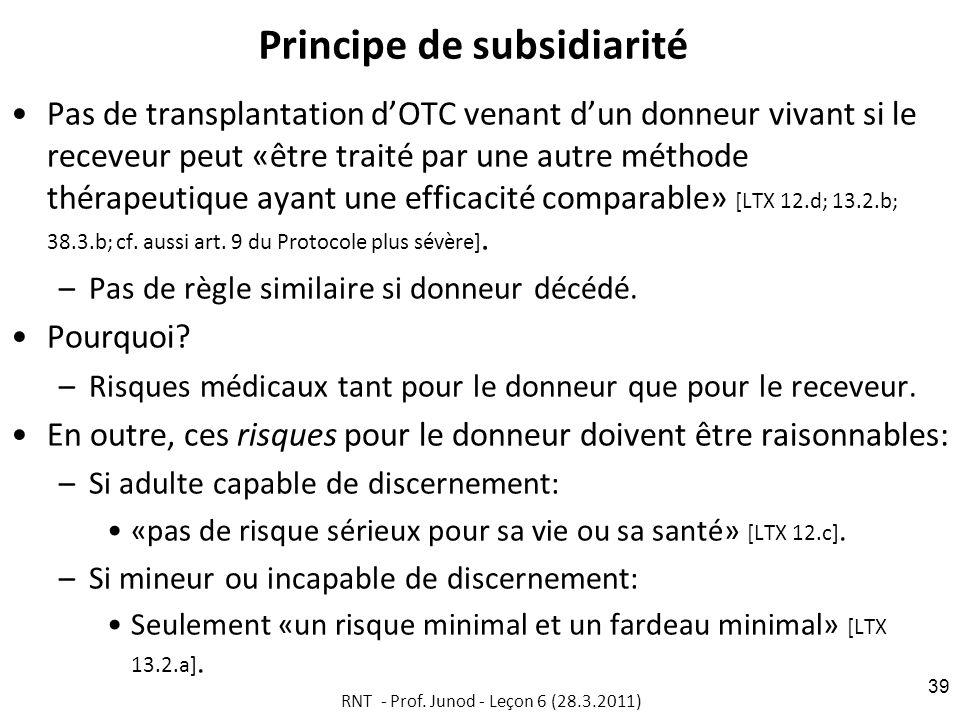 Principe de subsidiarité Pas de transplantation dOTC venant dun donneur vivant si le receveur peut «être traité par une autre méthode thérapeutique ayant une efficacité comparable» [LTX 12.d; 13.2.b; 38.3.b; cf.