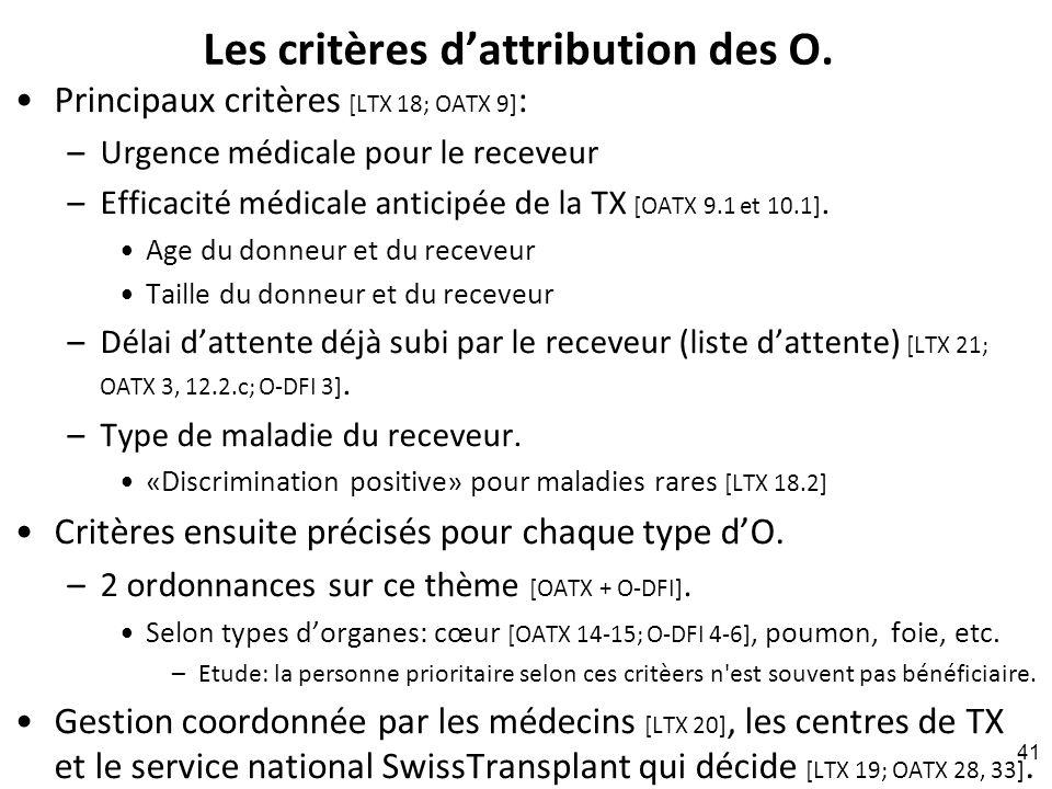 Les critères dattribution des O.