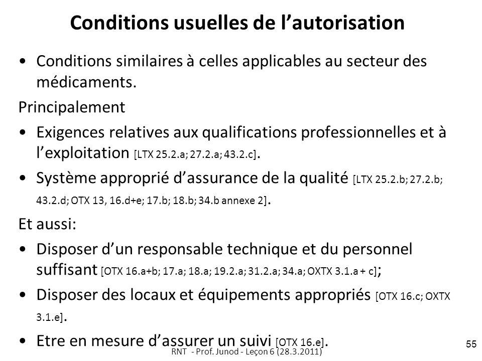 Conditions usuelles de lautorisation Conditions similaires à celles applicables au secteur des médicaments.