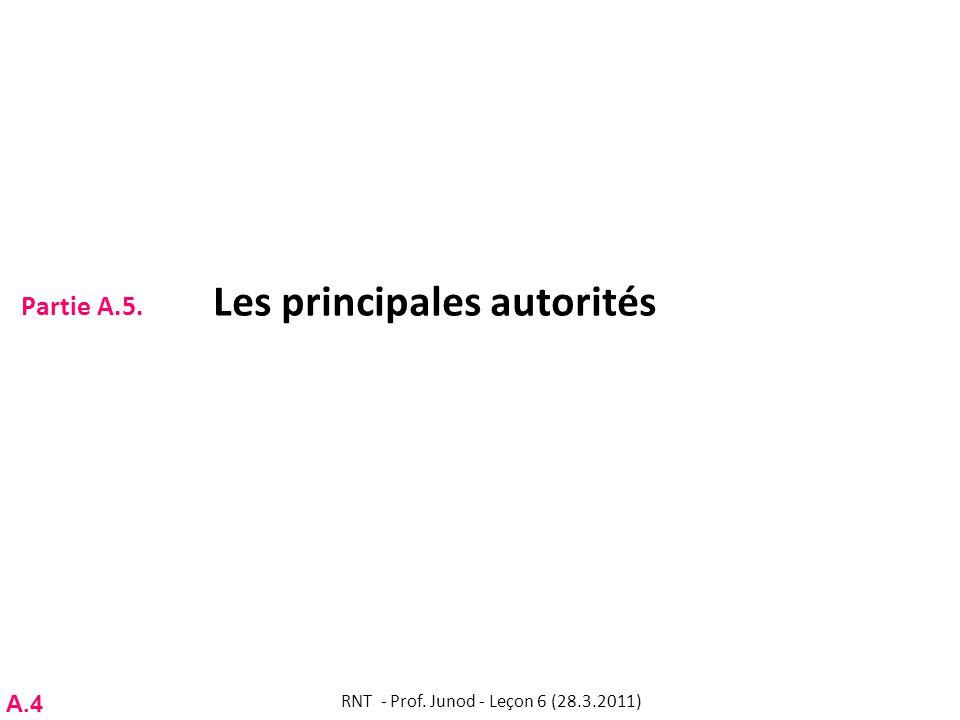 Partie A.5. Les principales autorités RNT - Prof. Junod - Leçon 6 (28.3.2011) A.4