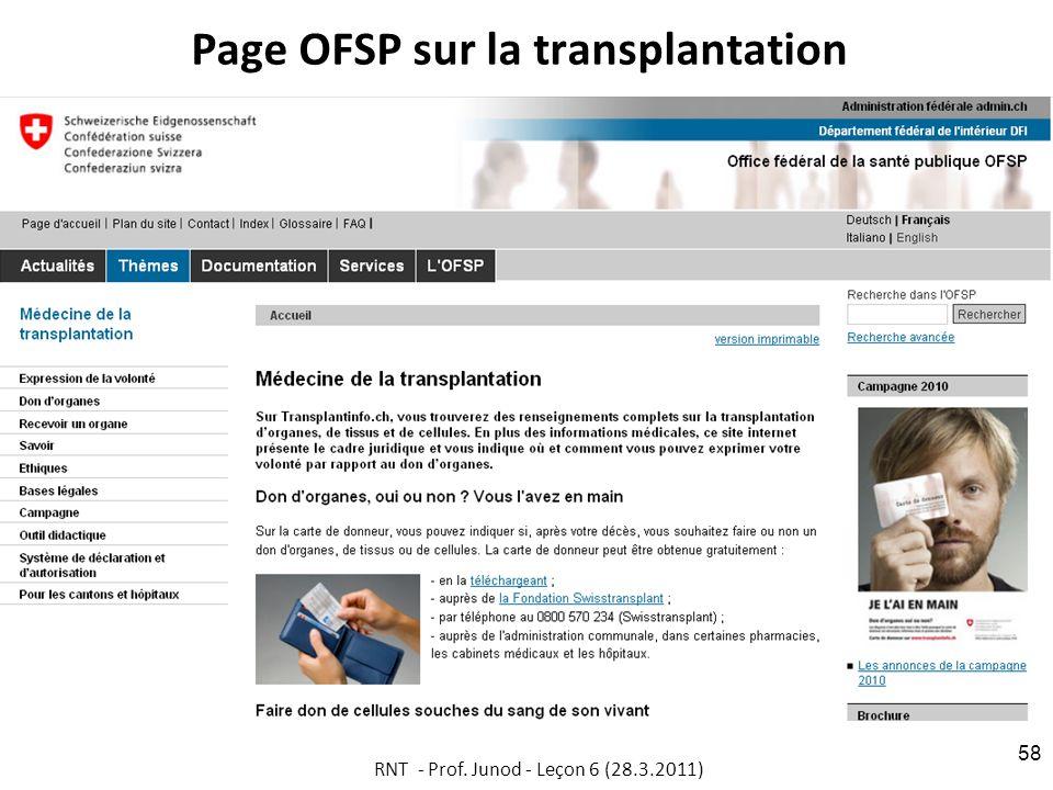 Page OFSP sur la transplantation RNT - Prof. Junod - Leçon 6 (28.3.2011) 58