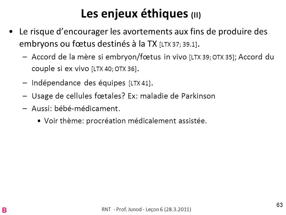 Les enjeux éthiques (II) Le risque dencourager les avortements aux fins de produire des embryons ou fœtus destinés à la TX [LTX 37; 39.1].