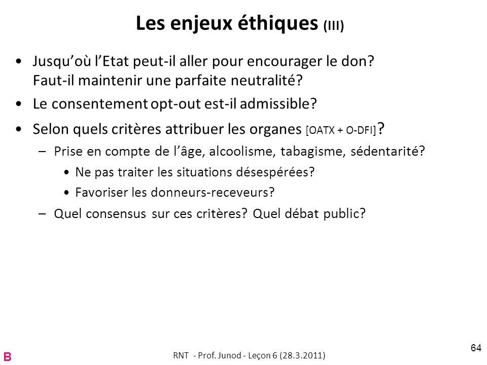 Les enjeux éthiques (III) Jusquoù lEtat peut-il aller pour encourager le don.