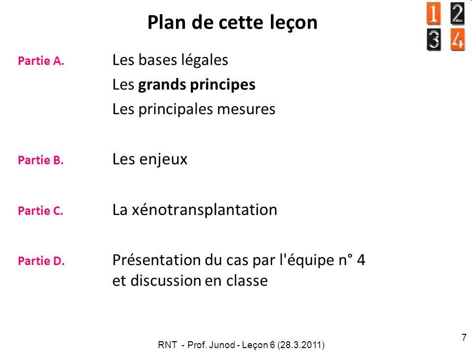 RNT - Prof.Junod - Leçon 6 (28.3.2011) 7 Plan de cette leçon Partie A.