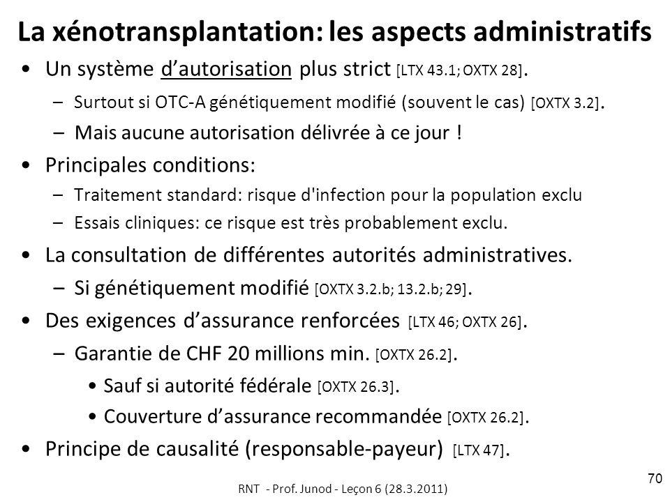 La xénotransplantation: les aspects administratifs Un système dautorisation plus strict [LTX 43.1; OXTX 28].