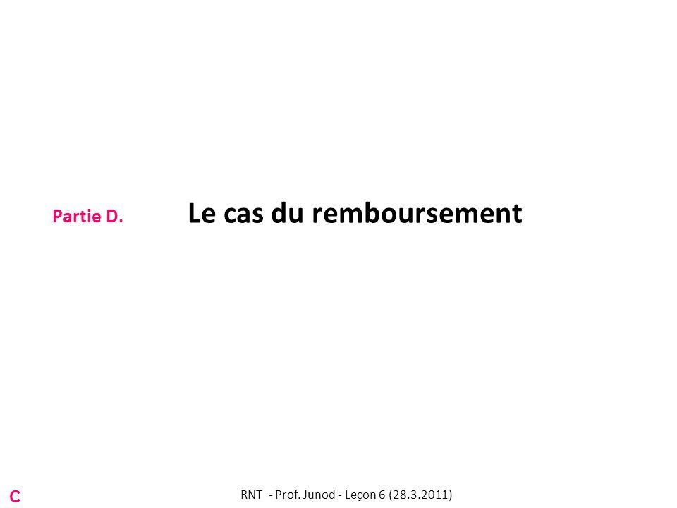 Partie D. Le cas du remboursement C RNT - Prof. Junod - Leçon 6 (28.3.2011)
