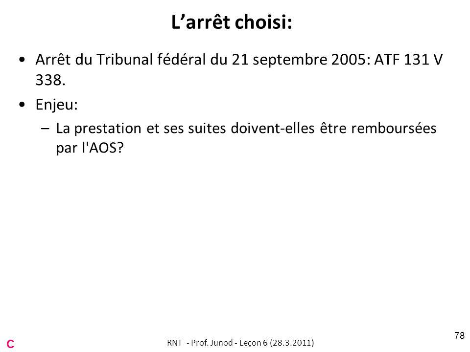 Larrêt choisi: Arrêt du Tribunal fédéral du 21 septembre 2005: ATF 131 V 338.