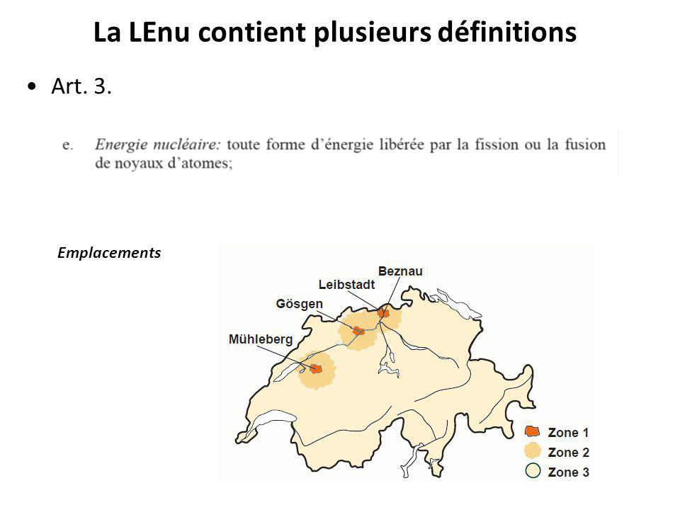 La LEnu contient plusieurs définitions Art. 3. Emplacements