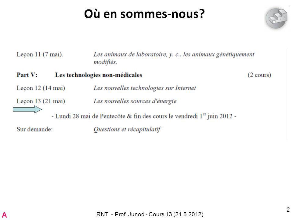 RNT - Prof. Junod - Cours 13 (21.5.2012) 2 Où en sommes-nous A