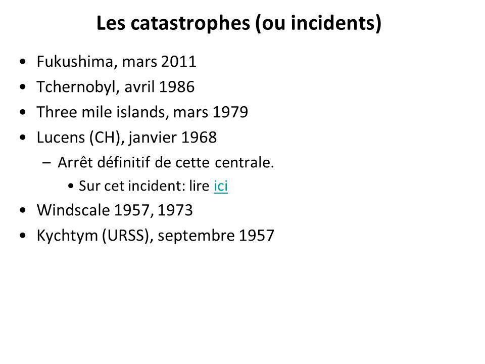 Les catastrophes (ou incidents) Fukushima, mars 2011 Tchernobyl, avril 1986 Three mile islands, mars 1979 Lucens (CH), janvier 1968 –Arrêt définitif d