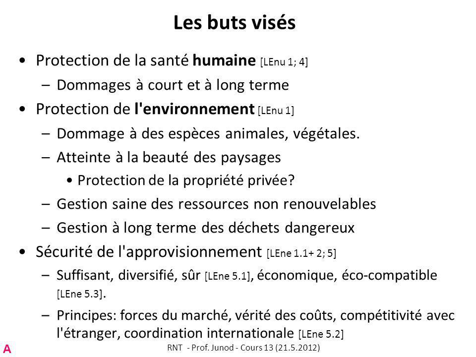 Les buts visés Protection de la santé humaine [LEnu 1; 4] –Dommages à court et à long terme Protection de l environnement [LEnu 1] –Dommage à des espèces animales, végétales.