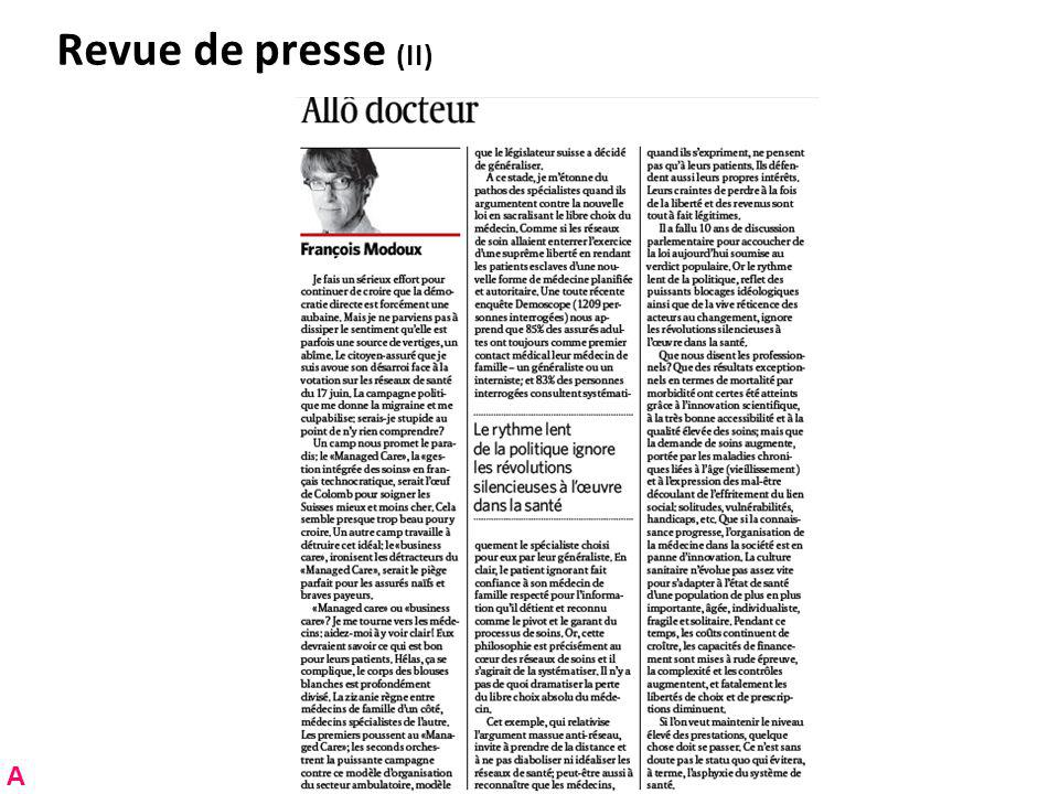 Revue de presse (II) A