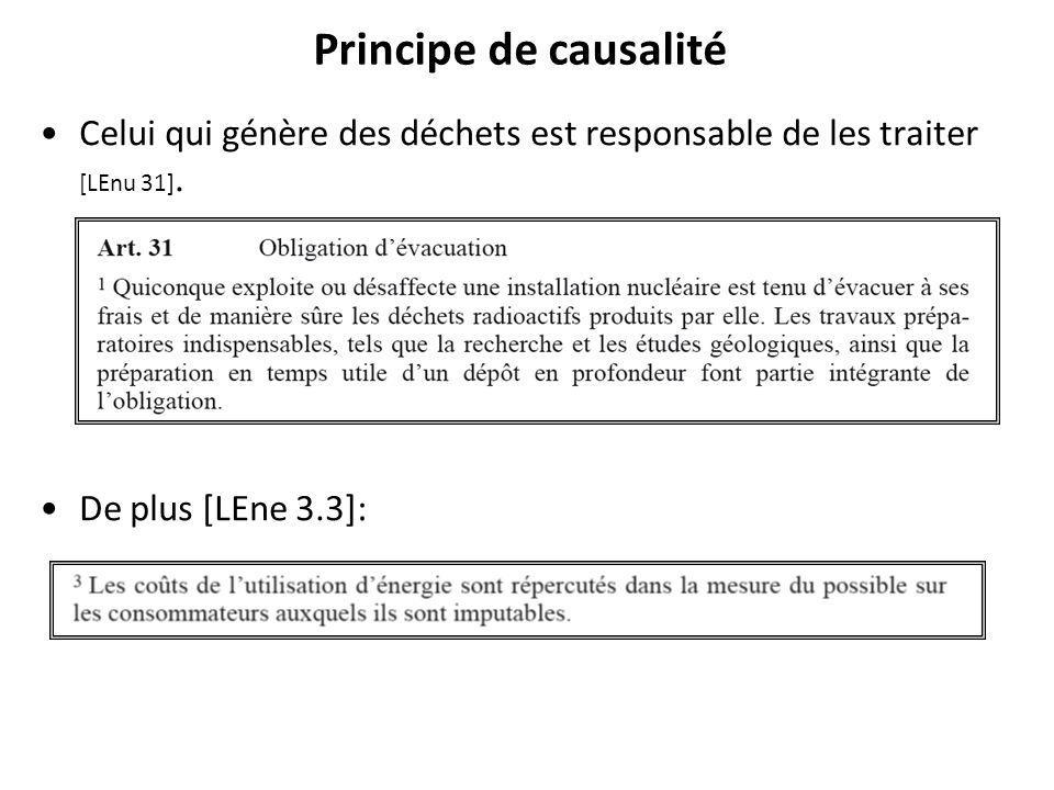Principe de causalité Celui qui génère des déchets est responsable de les traiter [LEnu 31].