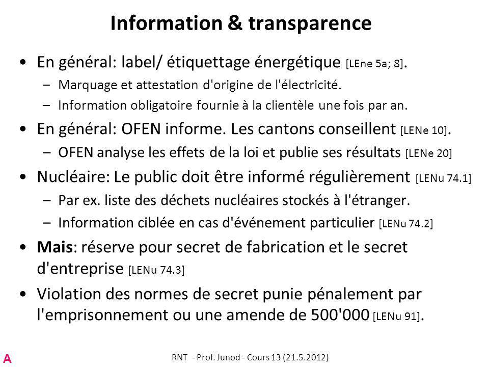 Information & transparence En général: label/ étiquettage énergétique [LEne 5a; 8].