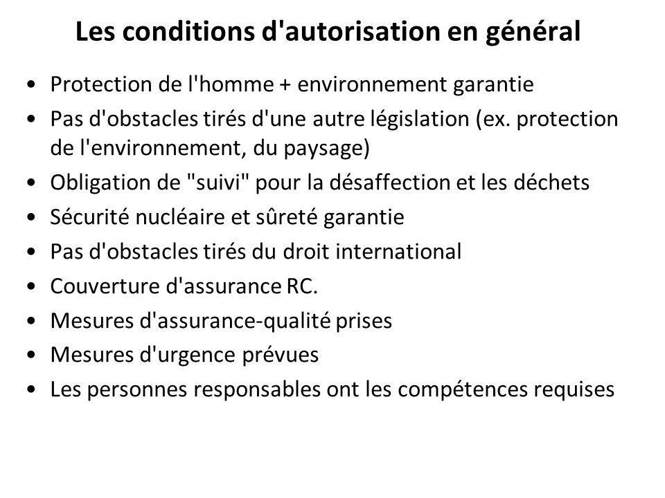 Les conditions d autorisation en général Protection de l homme + environnement garantie Pas d obstacles tirés d une autre législation (ex.