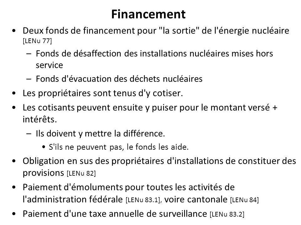 Financement Deux fonds de financement pour la sortie de l énergie nucléaire [LENu 77] –Fonds de désaffection des installations nucléaires mises hors service –Fonds d évacuation des déchets nucléaires Les propriétaires sont tenus d y cotiser.