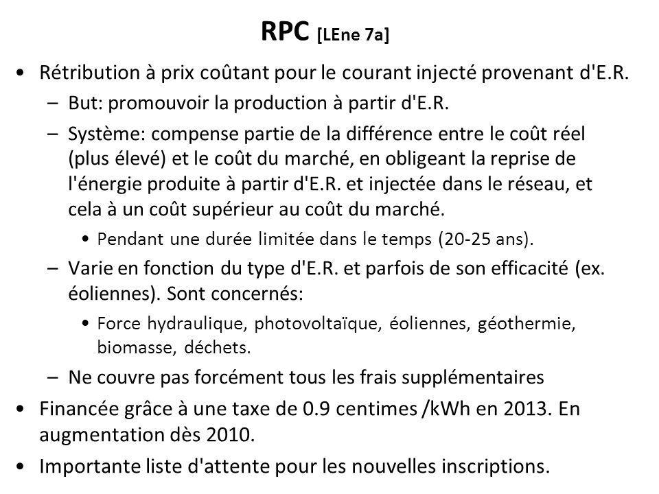 RPC [LEne 7a] Rétribution à prix coûtant pour le courant injecté provenant d E.R.