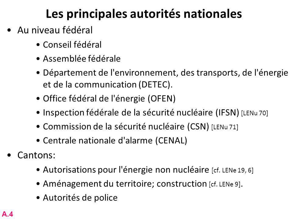 Les principales autorités nationales Au niveau fédéral Conseil fédéral Assemblée fédérale Département de l environnement, des transports, de l énergie et de la communication (DETEC).