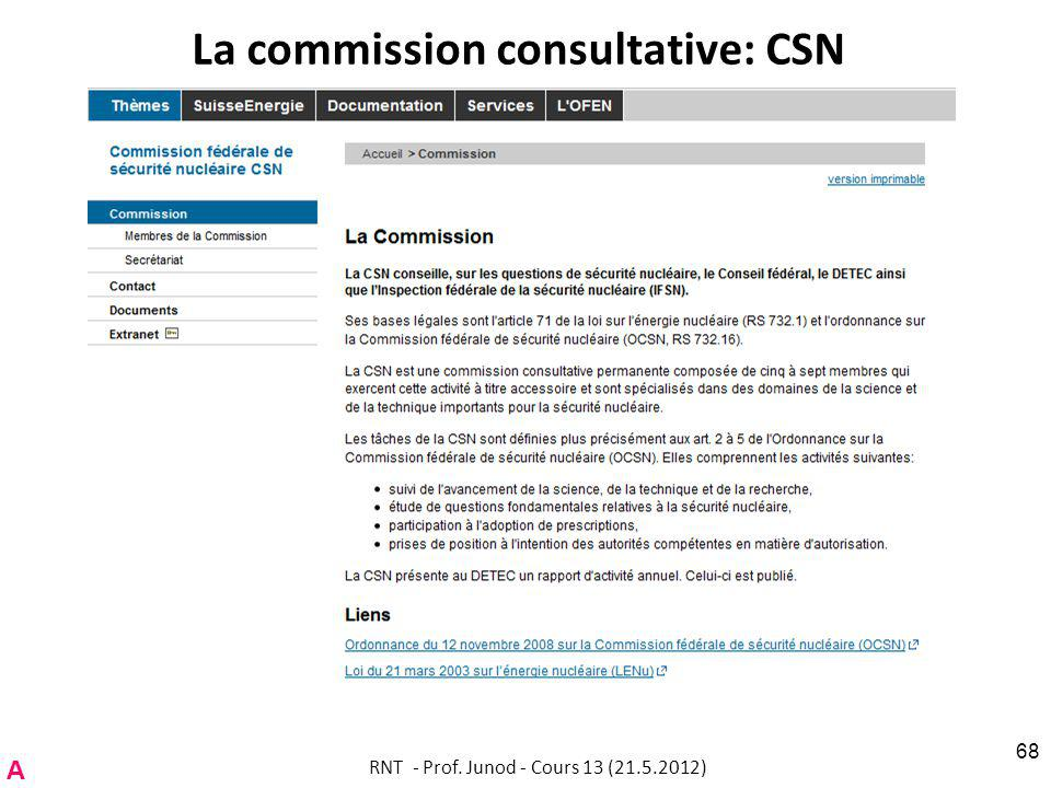 La commission consultative: CSN RNT - Prof. Junod - Cours 13 (21.5.2012) 68 A