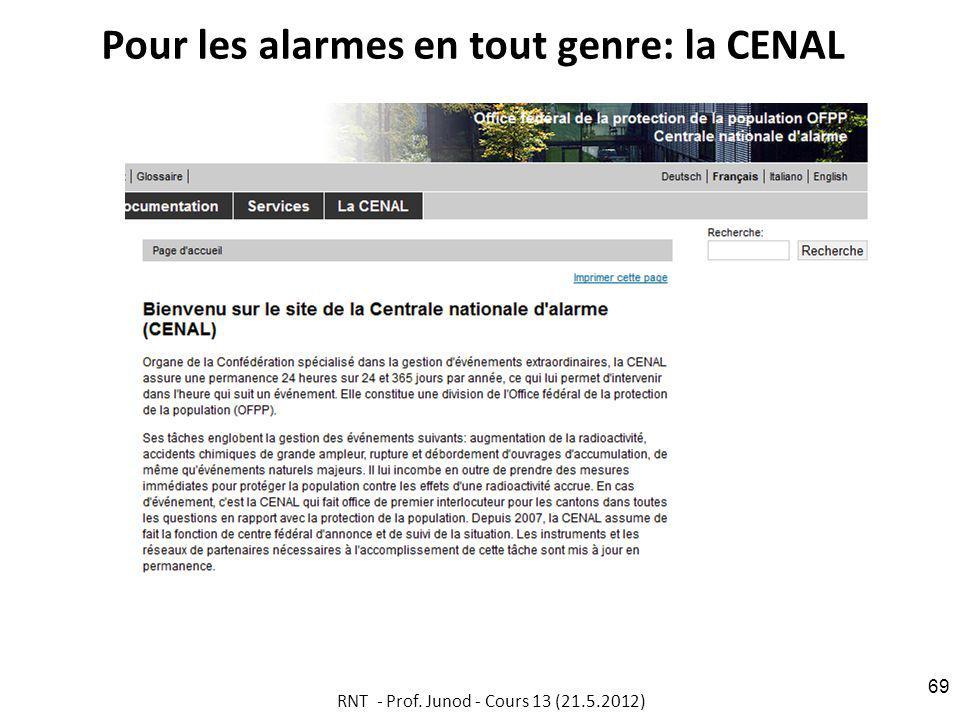 Pour les alarmes en tout genre: la CENAL RNT - Prof. Junod - Cours 13 (21.5.2012) 69