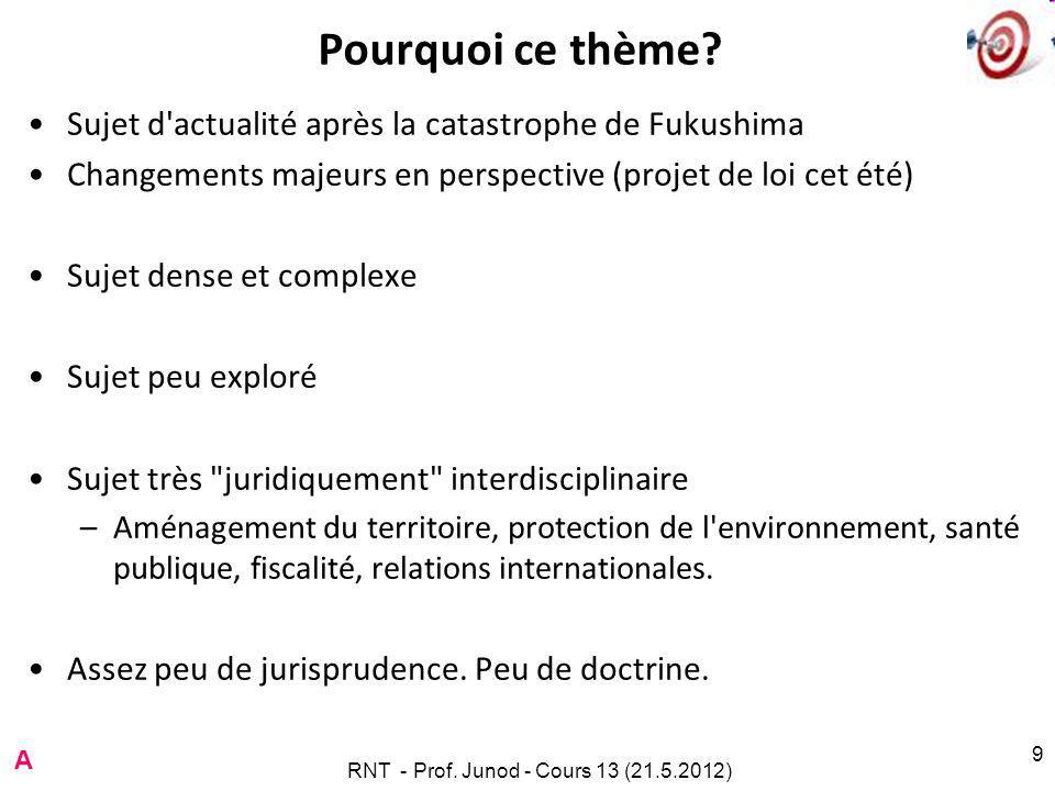 RNT - Prof. Junod - Cours 13 (21.5.2012) 9 Pourquoi ce thème.