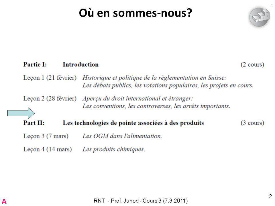 Aperçu du droit international La Convention sur la diversité biologique –Entrée en vigueur pour la Suisse le 19.2.1995 –RS 0.451.43 (ici).ici Le Protocole de Cartagena sur la prévention des risques biotechnologiques –Entrée en vigueur pour la Suisse le 11.9.2003 –RS 0.451.431 (ici).ici Mise en vigueur par l Ordonnance sur les mouvements transfrontières d OGMs du 3 novembre 2004 (OCart); RS 814.912.21OCart Déclaration de Rio sur lenvironnement et le développement (ici).ici –Non contraignante.