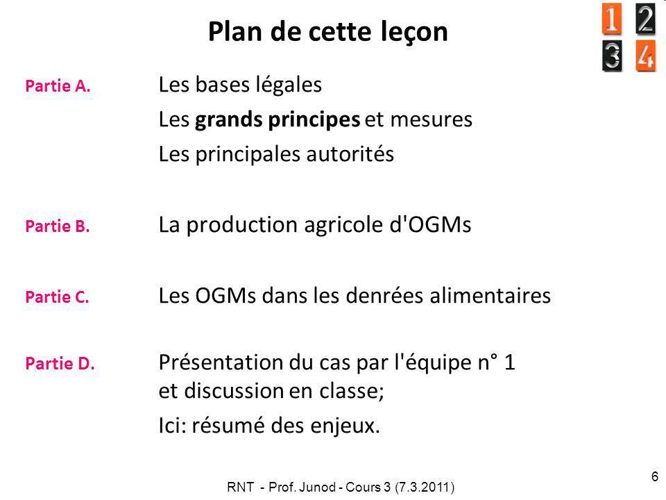 Ig Nobel Les plantes aussi ont leur dignité ! RNT - Prof. Junod - Cours 3 (7.3.2011) 57 A.4