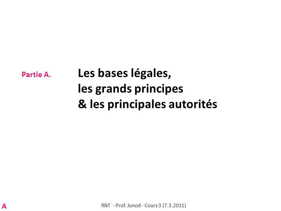 Partie A.1. Les bases légales: survol RNT - Prof. Junod - Cours 3 (7.3.2011) A
