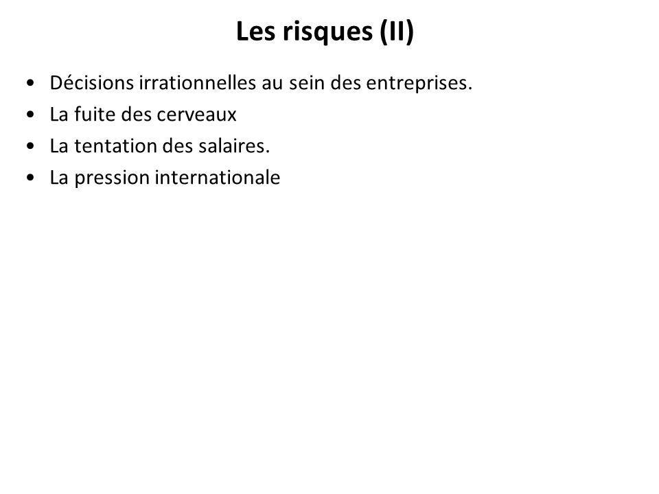Les risques (II) Décisions irrationnelles au sein des entreprises.