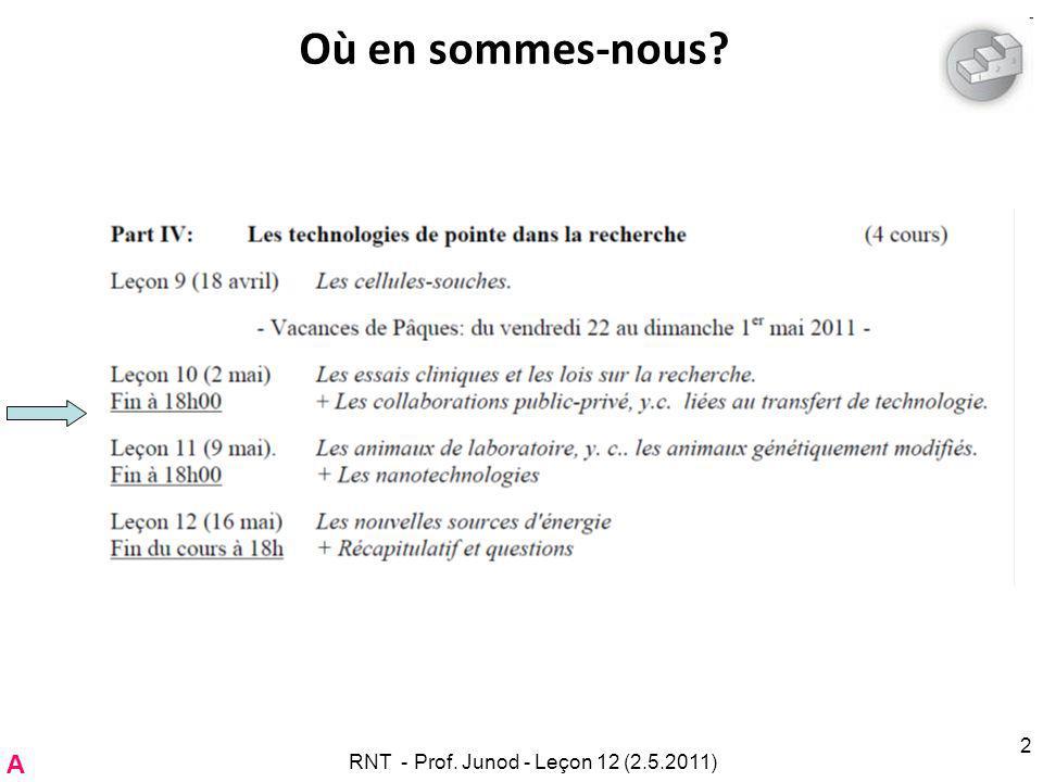 RNT - Prof. Junod - Leçon 12 (2.5.2011) 2 Où en sommes-nous A