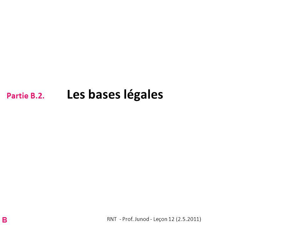 Partie B.2. Les bases légales RNT - Prof. Junod - Leçon 12 (2.5.2011) B