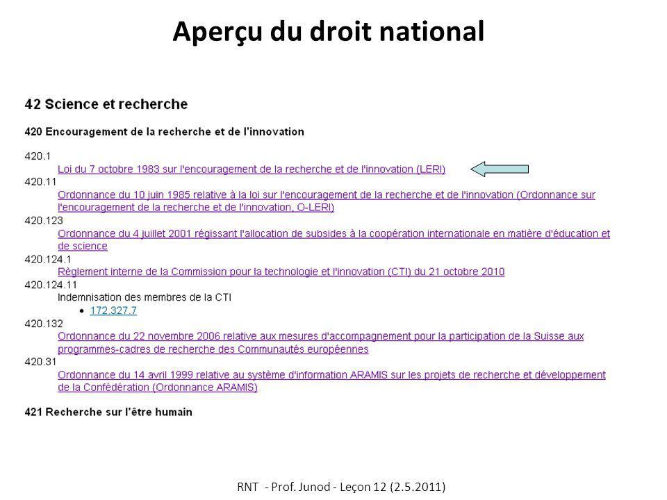 Aperçu du droit national RNT - Prof. Junod - Leçon 12 (2.5.2011)