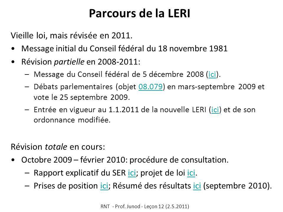 Parcours de la LERI Vieille loi, mais révisée en 2011.