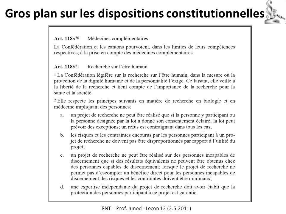 Gros plan sur les dispositions constitutionnelles RNT - Prof. Junod - Leçon 12 (2.5.2011)