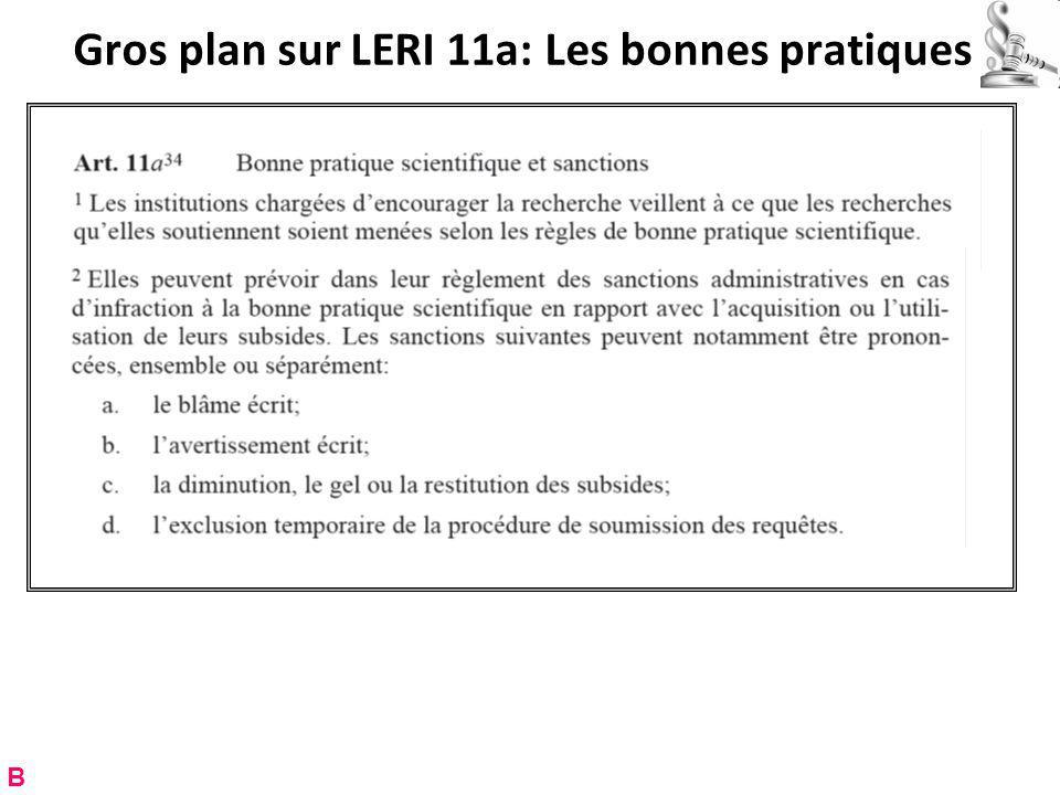 Gros plan sur LERI 11a: Les bonnes pratiques B