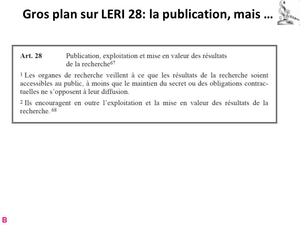 Gros plan sur LERI 28: la publication, mais … B