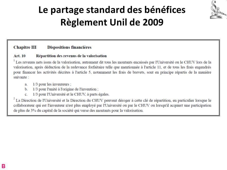 Le partage standard des bénéfices Règlement Unil de 2009 B