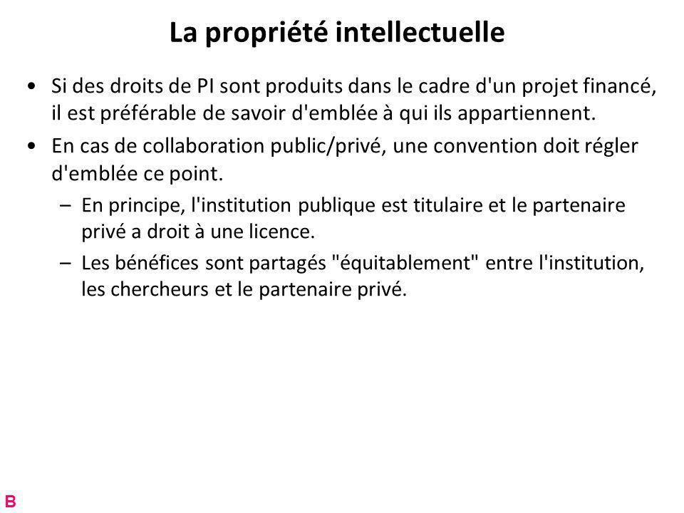 La propriété intellectuelle Si des droits de PI sont produits dans le cadre d un projet financé, il est préférable de savoir d emblée à qui ils appartiennent.