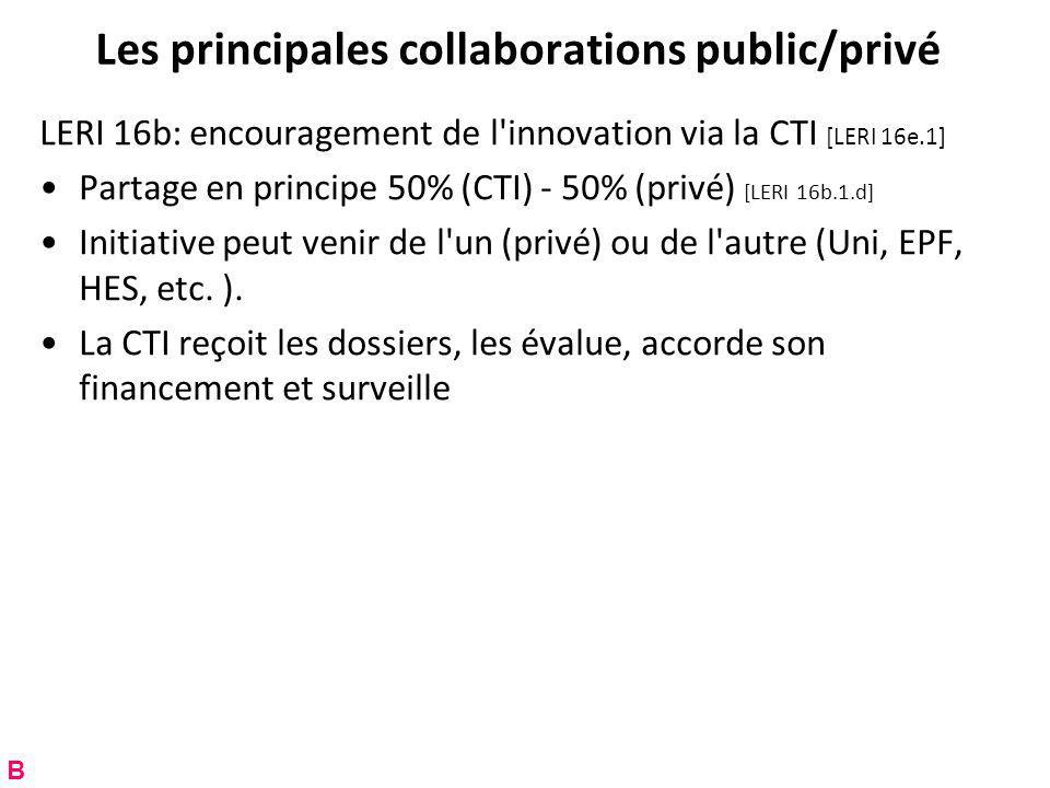 Les principales collaborations public/privé LERI 16b: encouragement de l innovation via la CTI [LERI 16e.1] Partage en principe 50% (CTI) - 50% (privé) [LERI 16b.1.d] Initiative peut venir de l un (privé) ou de l autre (Uni, EPF, HES, etc.