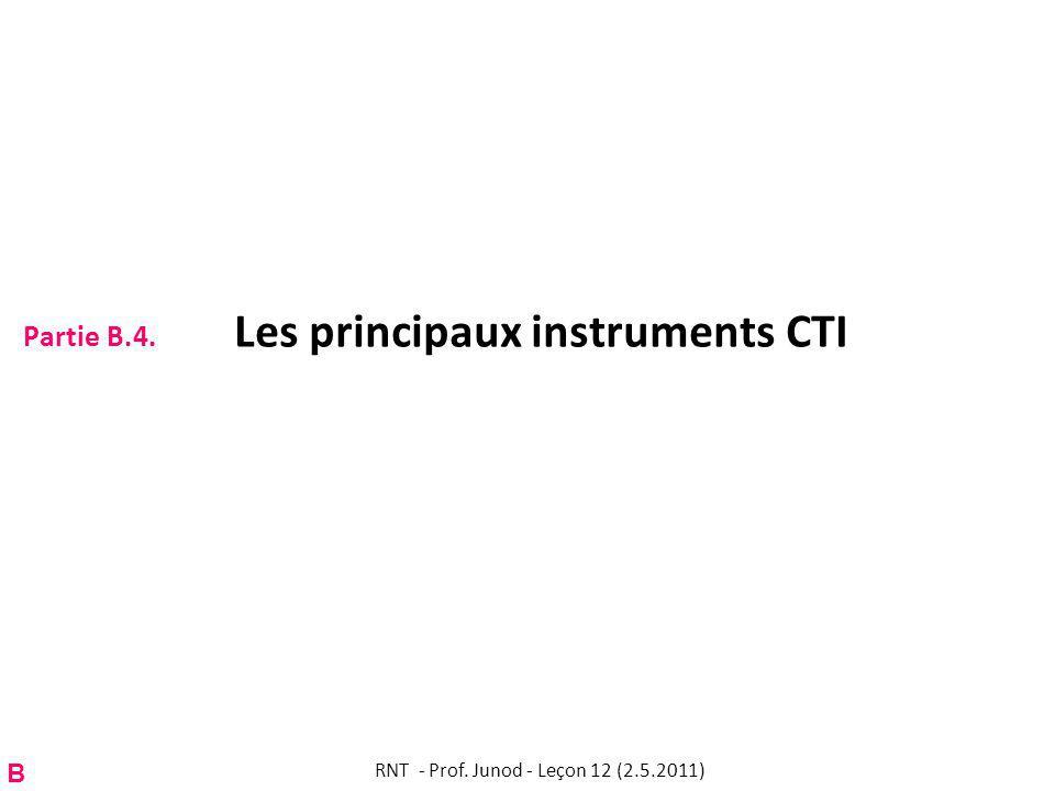 Partie B.4. Les principaux instruments CTI RNT - Prof. Junod - Leçon 12 (2.5.2011) B