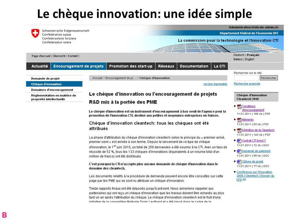 Le chèque innovation: une idée simple B