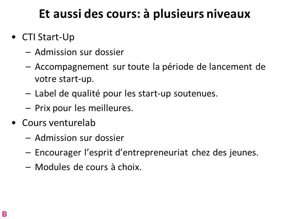 Et aussi des cours: à plusieurs niveaux CTI Start-Up –Admission sur dossier –Accompagnement sur toute la période de lancement de votre start-up.