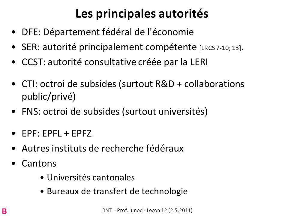 Les principales autorités DFE: Département fédéral de l économie SER: autorité principalement compétente [LRCS 7-10; 13].