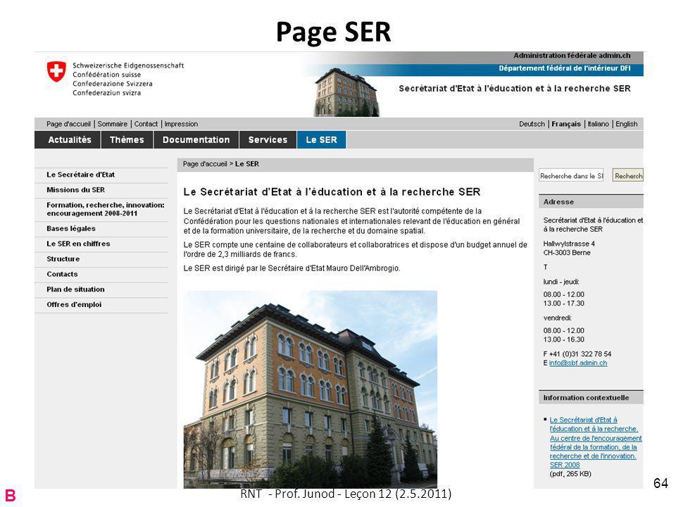 Page SER RNT - Prof. Junod - Leçon 12 (2.5.2011) 64 B