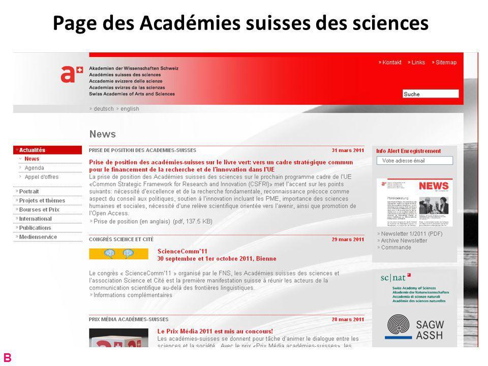 Page des Académies suisses des sciences B