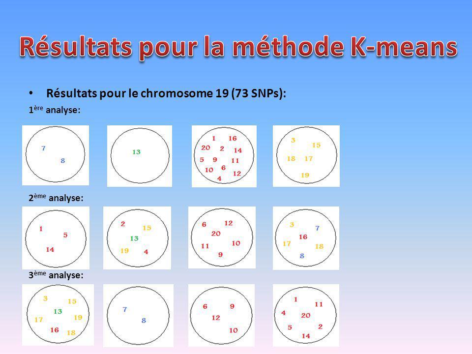 Résultats pour le chromosome 19 (73 SNPs): 1 ère analyse: 2 ème analyse: 3 ème analyse:
